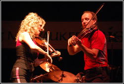 Donnell Leahy and Natalie MacMaster at Milwaukee Irish Fest - August 15, 2009.  Photo by James Fidler.